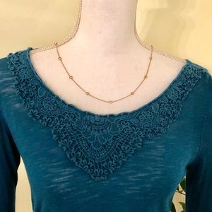 Lucky Long-sleeved Top w/Macrame design, Teal